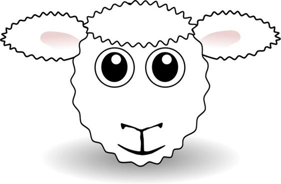 Funny Sheep Face White Cartoon