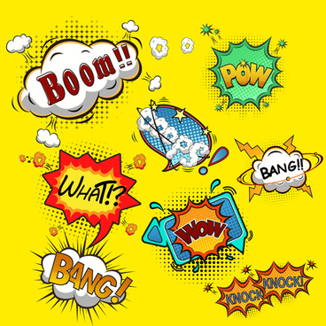 funny speech bubbles comic styles vectors