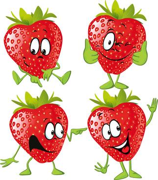 funny strawberry cartoon characters vector