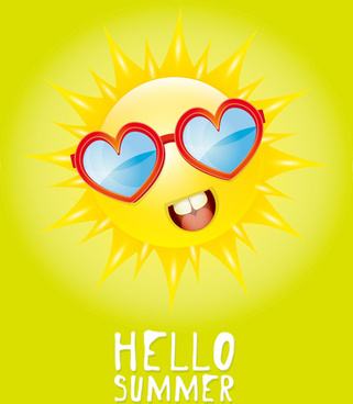 funny sun cartoon summer vector background
