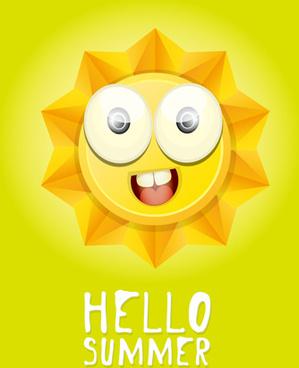 funny sun cartoon summer vector background