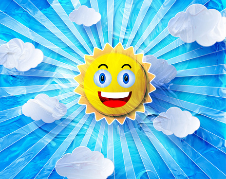 funny sun vector design with blue background