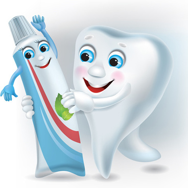 funny tooth with toothpaste vector graphic