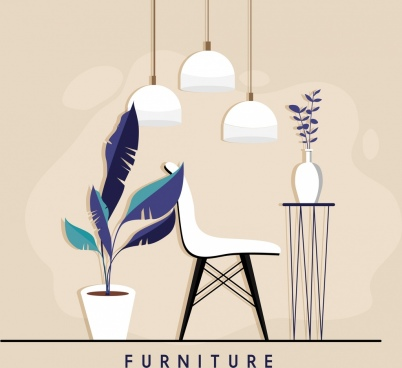 furniture advertising background chair table light icons decor