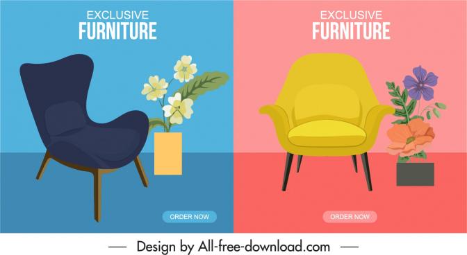 furniture advertising background templates chair flowerpot decor