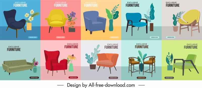 furniture advertising banner templates chairs sketch elegant decor