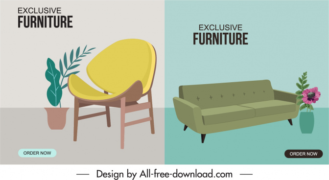 furniture advertising banners chairs houseplant sketch