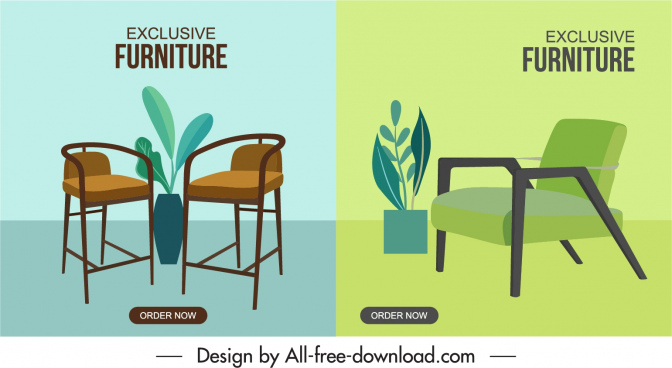 furniture advertising banners chairs sketch elegant classic