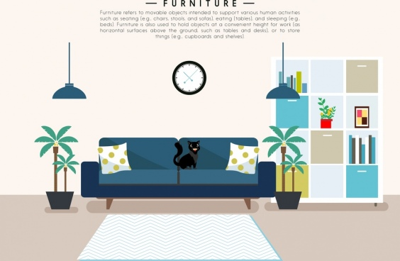 furniture advertising living room layout colored cartoon