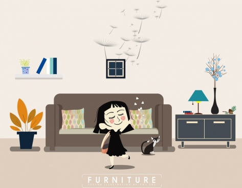 furniture advertising playful kid icon living room decor