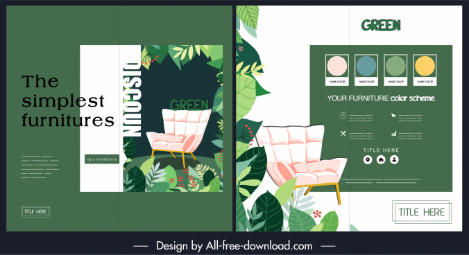 furniture brochure template leaves chair icons decor