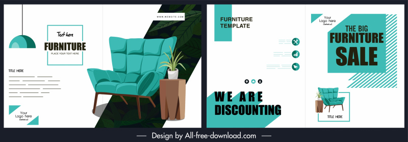 furniture brochure template modern blue white decor