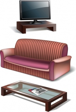 furniture coffee tv tv vector