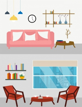 furniture decor advertising templates 3d multicolored objects