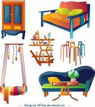 furniture design elements colorful 3d design