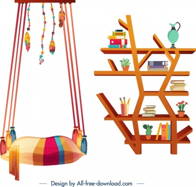 furniture design elements swing shelves icons multicolored design