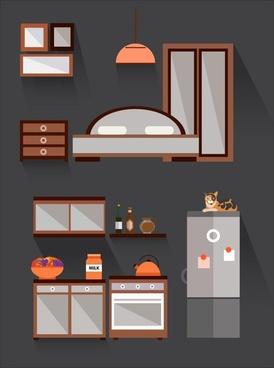 furniture display sets design in dark color