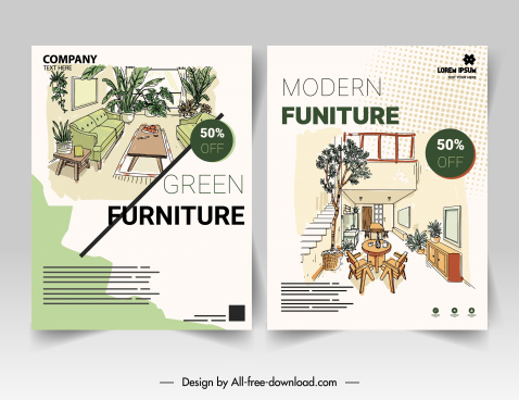 furniture flyer templates elegant handdrawn decor