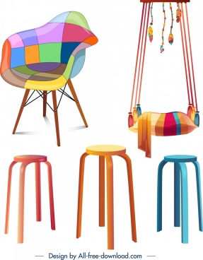 furniture icons chairs swing objects colorful 3d design