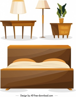 furniture icons classical 3d design