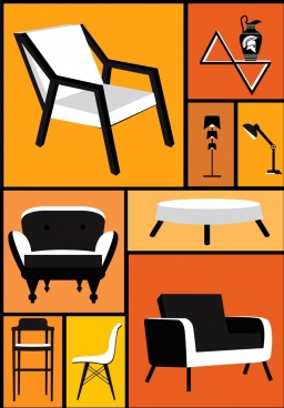 furniture icons collection 3d retro design