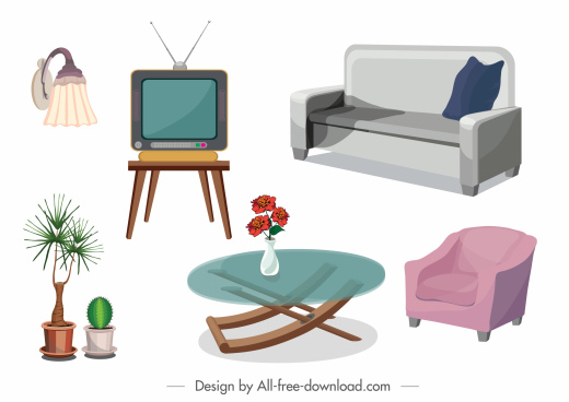 furniture icons colored 3d sketch