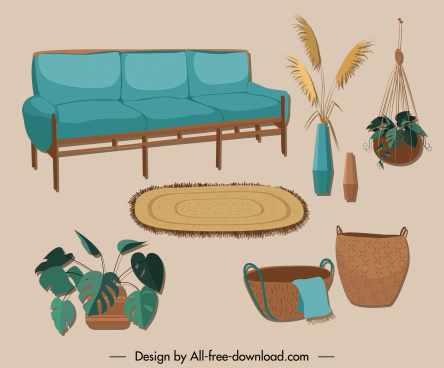 furniture icons colorful sketch retro decor