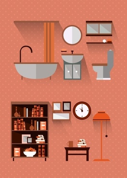 furniture icons sets illustration with various types
