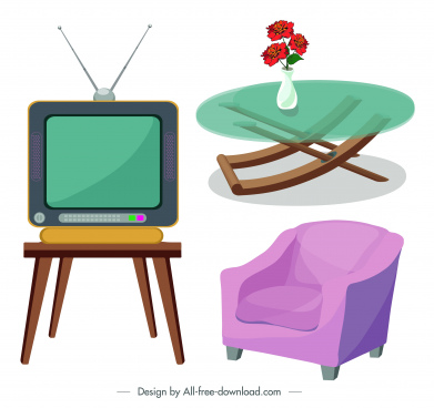 furniture icons table armchair television sketch