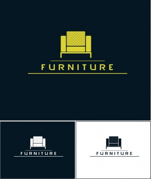 furniture logotype design various colored flat style