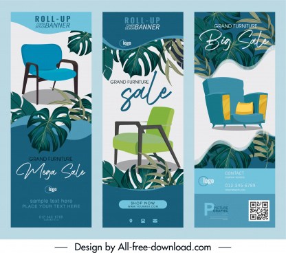 furniture sale posters chair sketch leaves decor