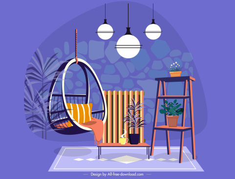 furniture template swing chair lights table shelf decor
