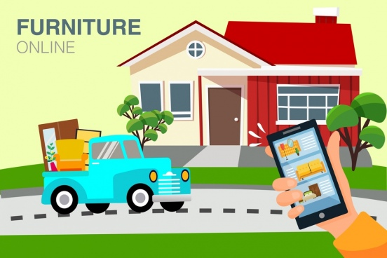 furniture trading banner smartphone truck house icons decor