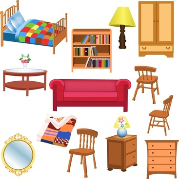 furniture icons colored 3d design