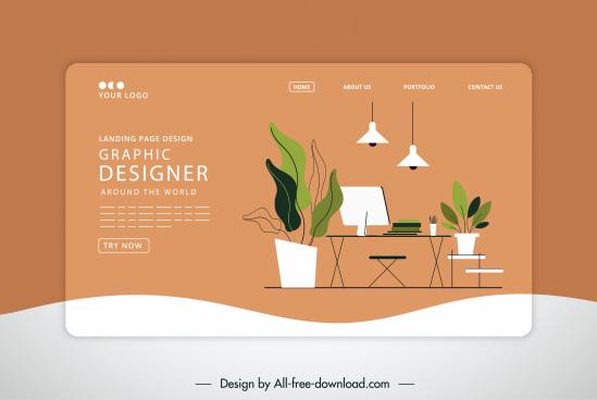 furniture website template flat classic sketch