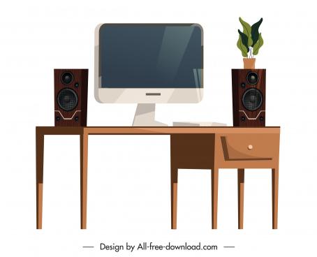 furniture work desk icons elegant contemporary decor