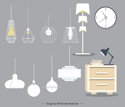 furnitures icons colored contemporary design