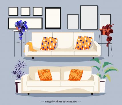 furnitures icons sofa pictures sketch classic design