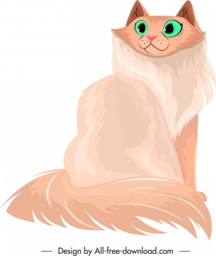 furry cat icon cute cartoon character sketch