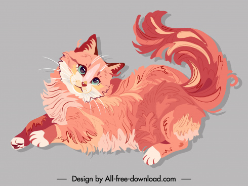furry cat painting classic handdrawn design