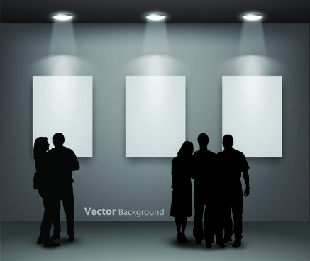 gallery background and people silhouettes vector set