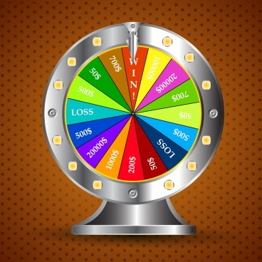 gambling wheel template colorful shiny 3d design