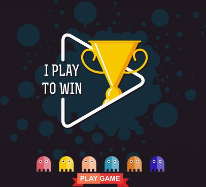 game banner trophy icon play sign decor