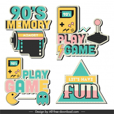game logo templates colorful flat decor