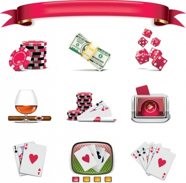 gambling design elements modern color 3d symbols