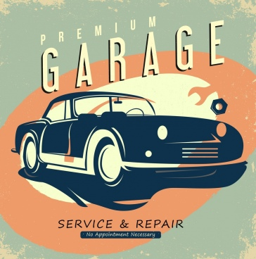 garage advertisement car icon retro design
