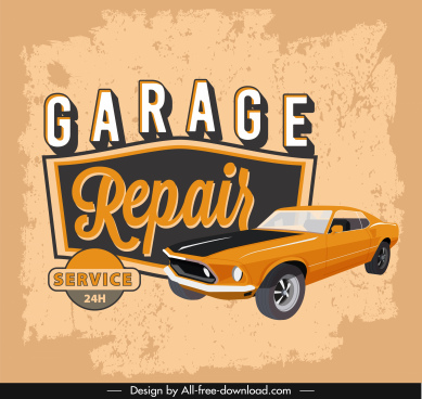 garage service advertising banner retro design car sketch