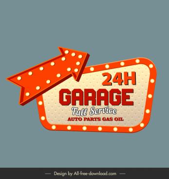 garage signboard template arrow sketch classic light decor