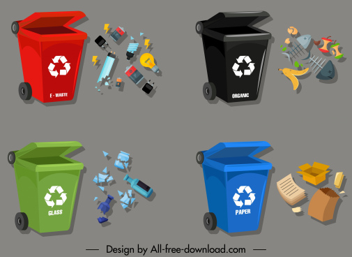garbage classification icons dustbin wastes sketch