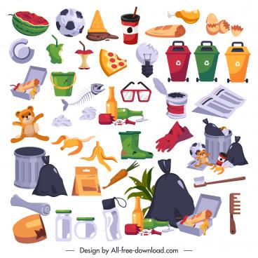 garbages design elements colorful symbols sketch